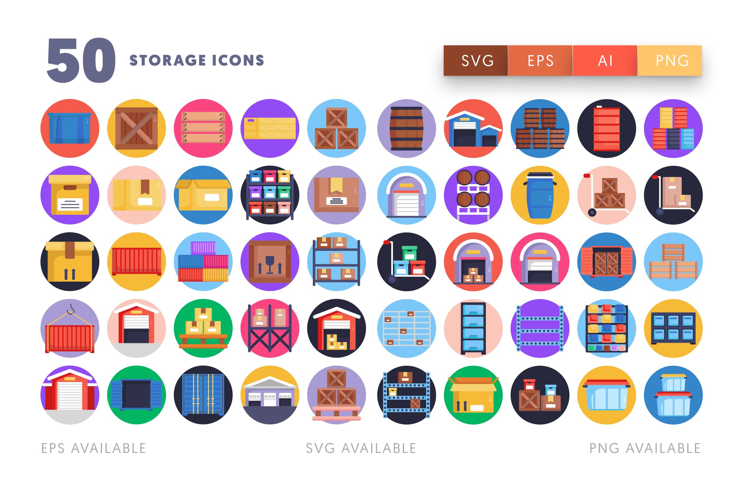 Storage icons png/svg/eps