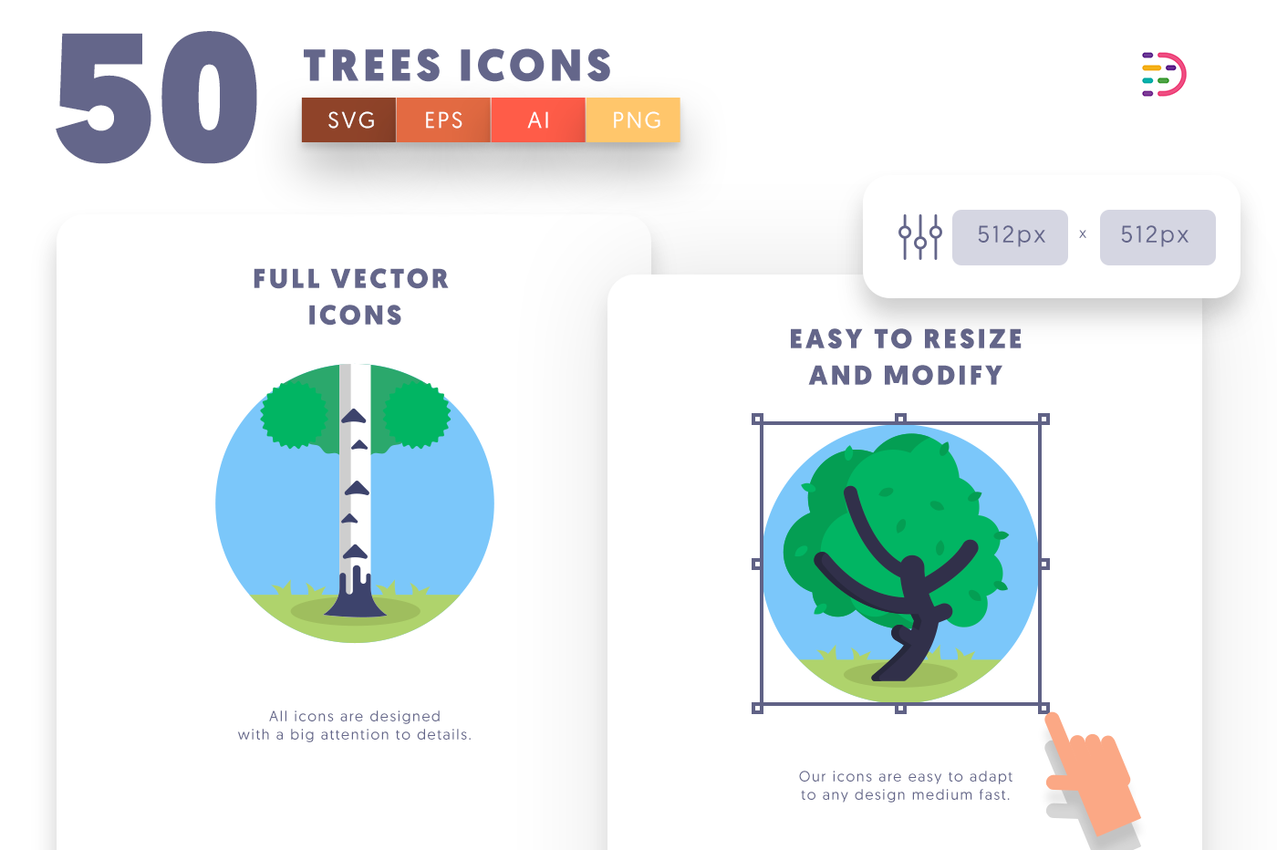 Full vector 50Trees Icons