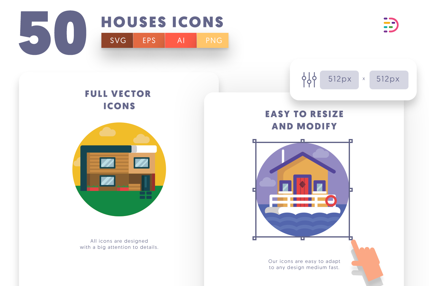 Full vector 50Houses Icons