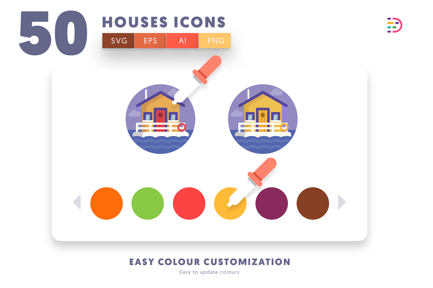 Customizable and vector 50 Houses Icons