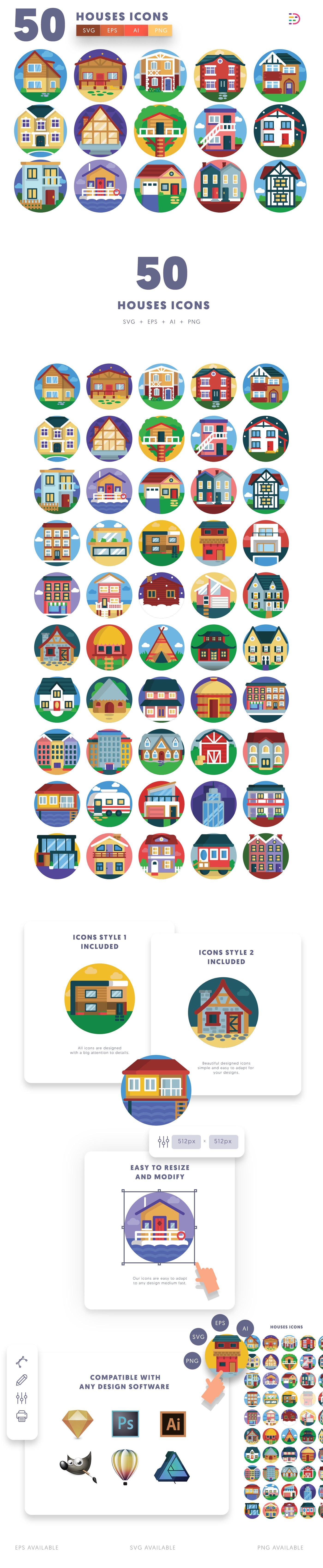 Houses icons info graphic