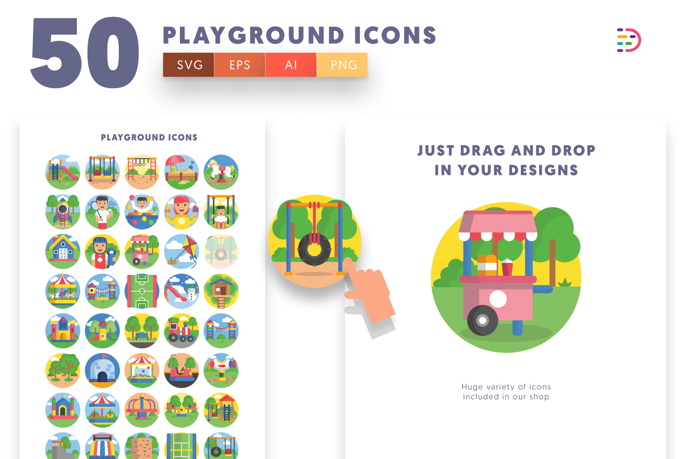 Drag and drop vector 50 Playground Icons