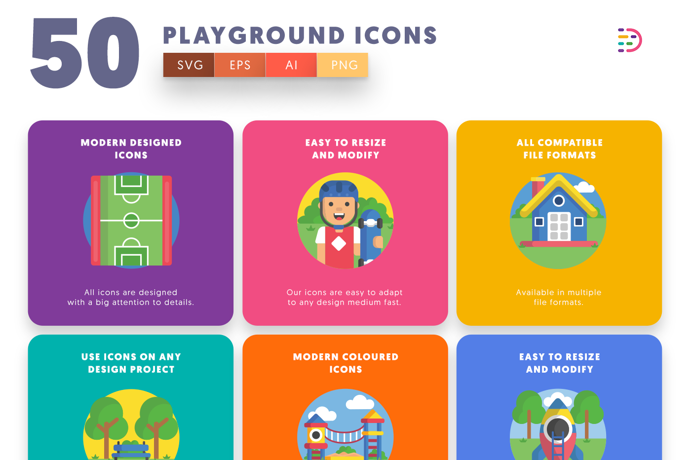 50 Playground Icons with colored backgrounds