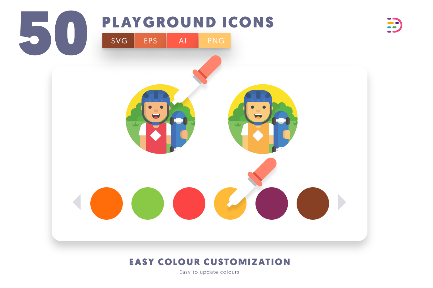 Customizable and vector 50 Playground Icons