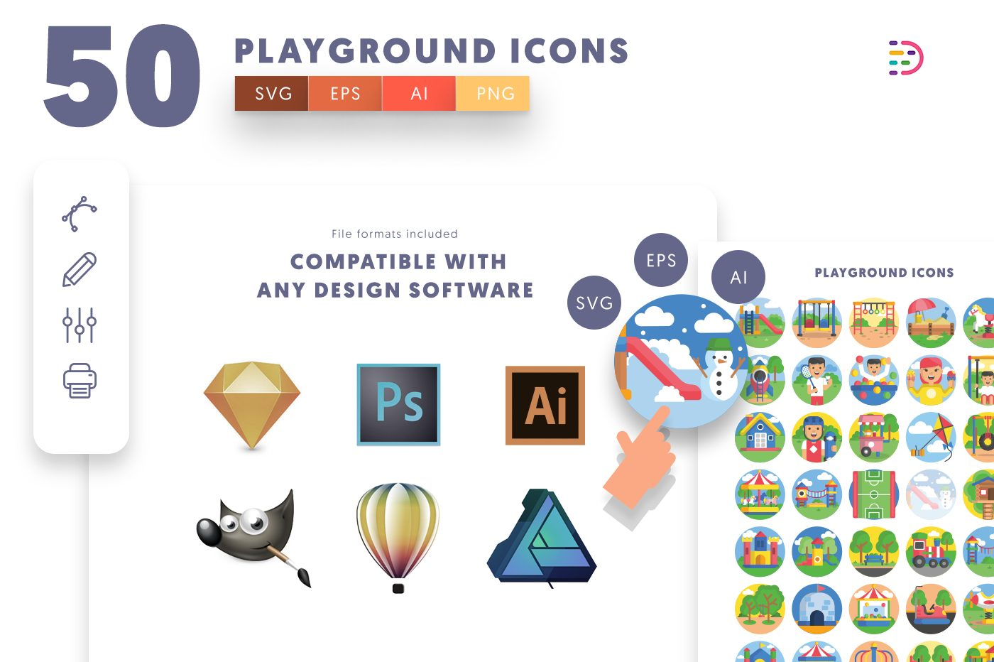 full vector 50 Playground Icons EPS, SVG, PNG