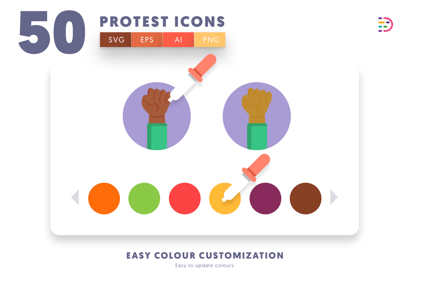 Customizable and vector 50 Protest Icons