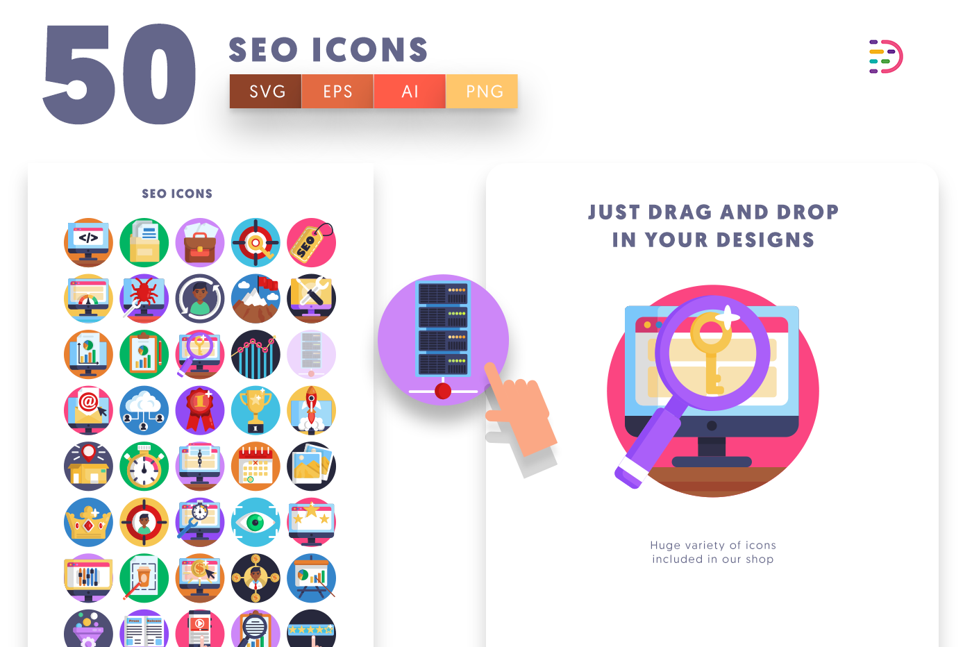 Drag and drop vector 50 SEO Icons
