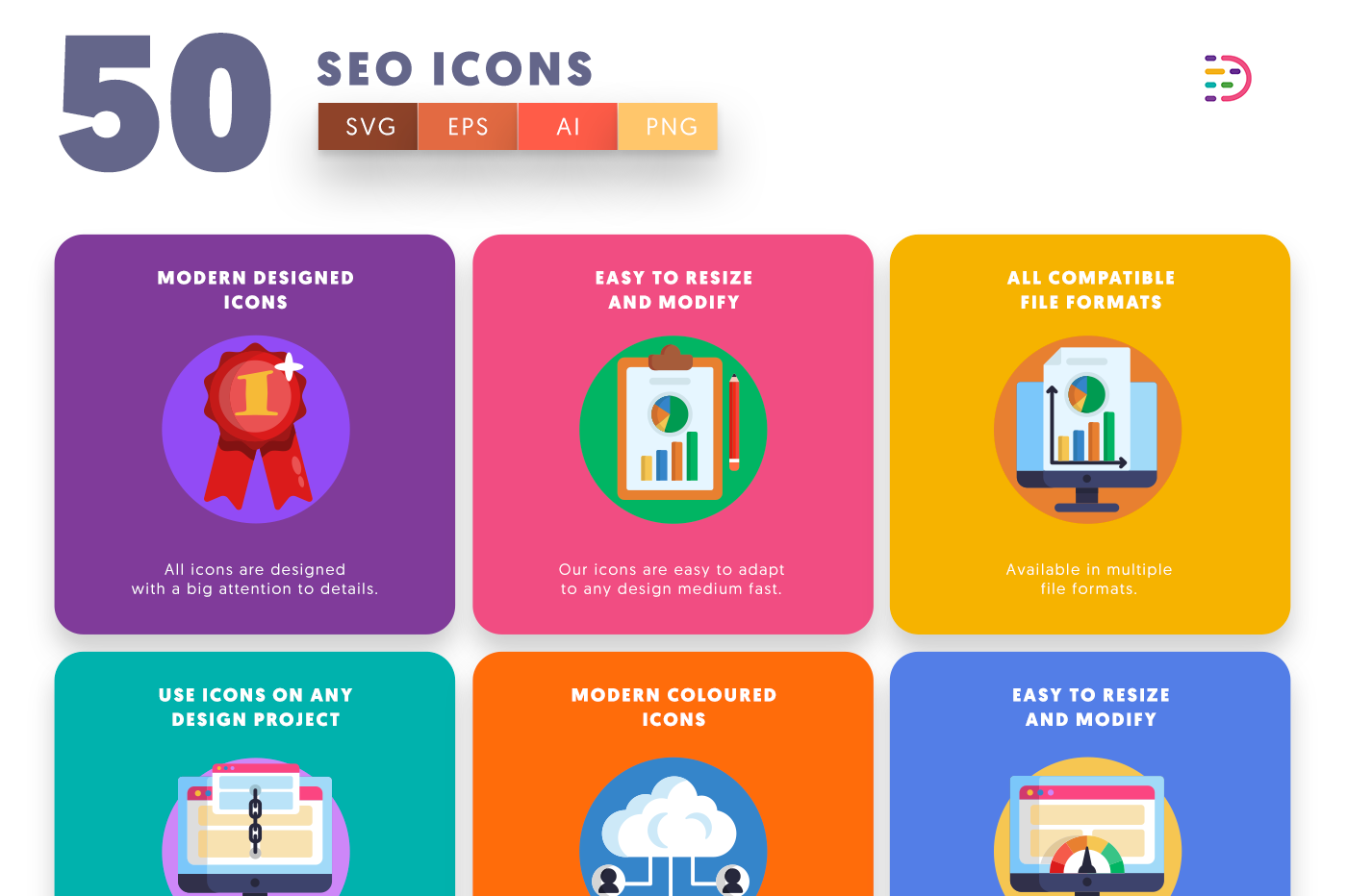 50 SEO Icons with colored backgrounds