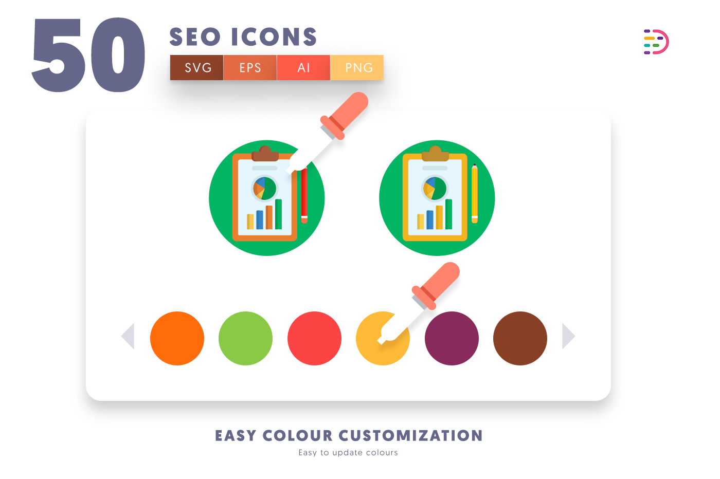 Customizable and vector 50 SEO Icons