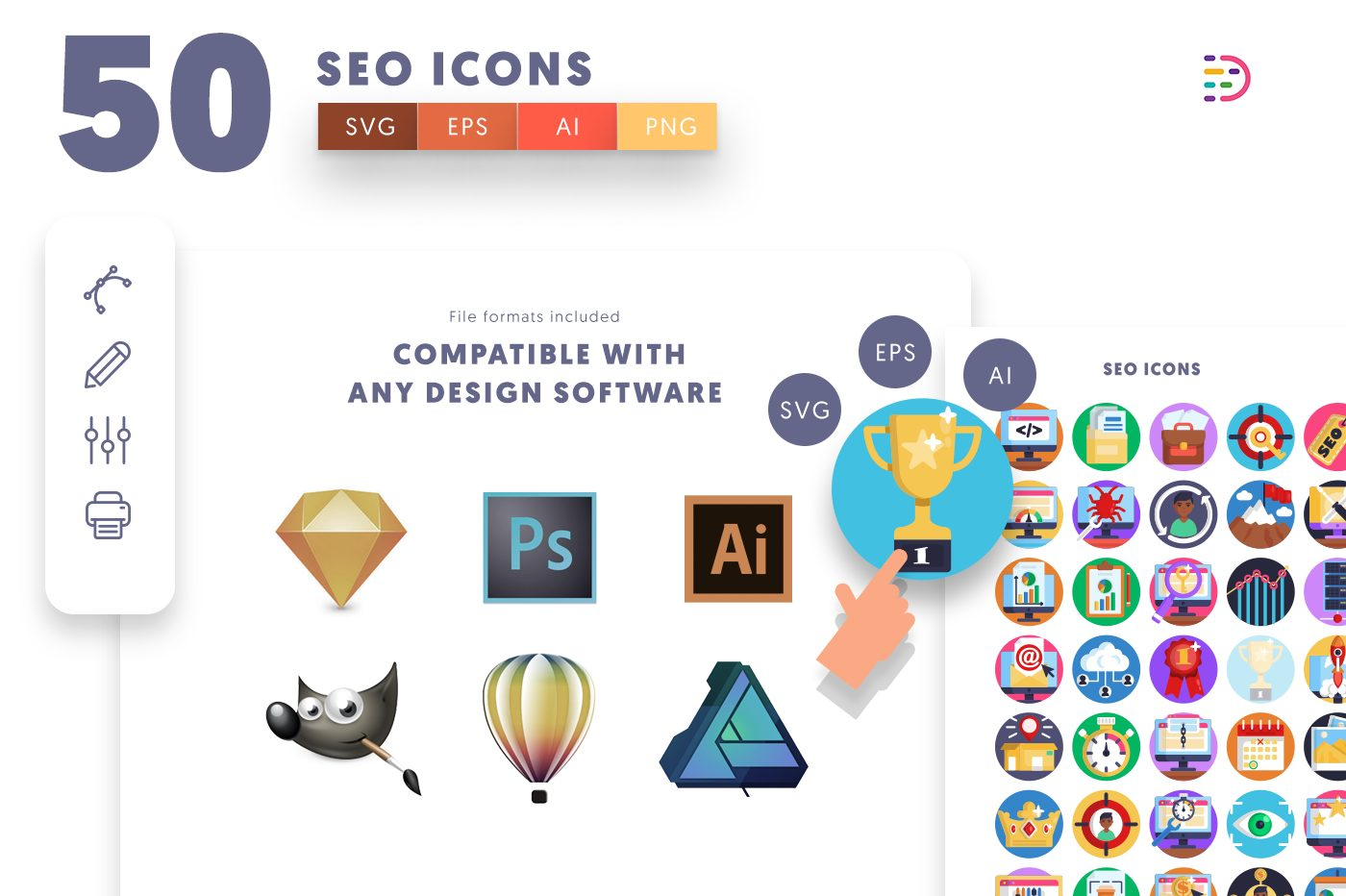 full vector 50 SEO Icons EPS, SVG, PNG