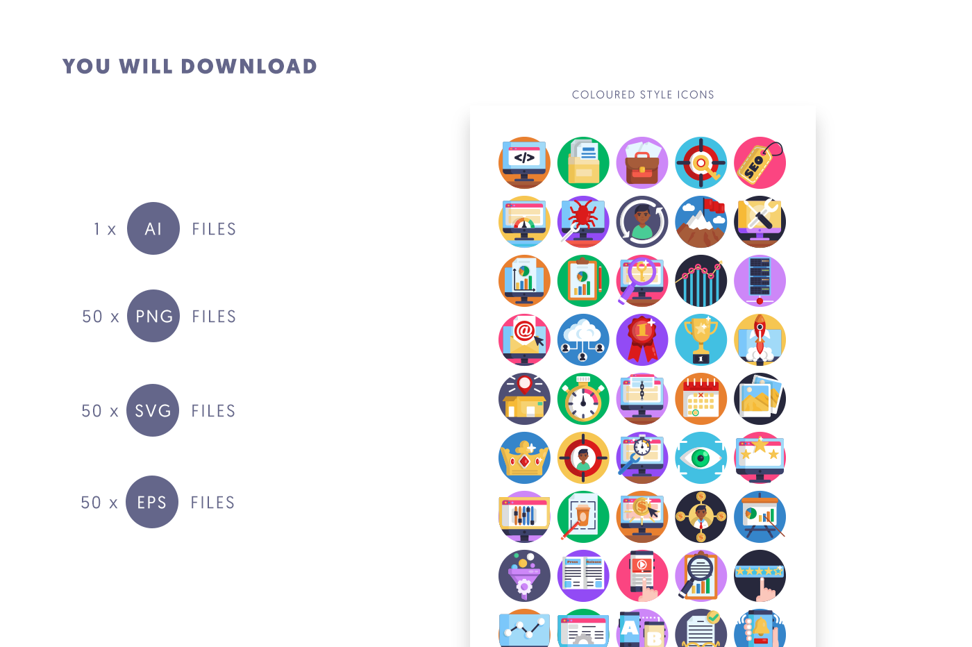 Compatible 50 SEO Icons pack