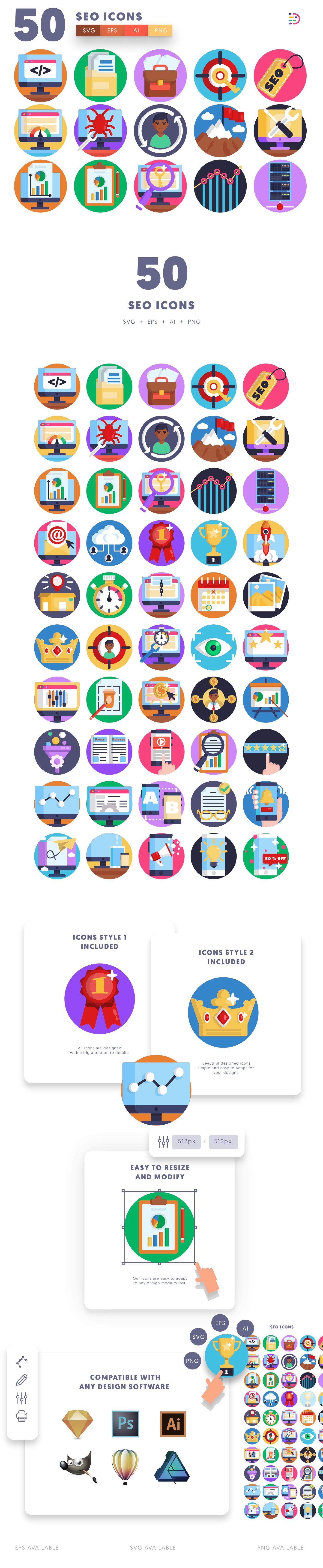 SEO icons info graphic