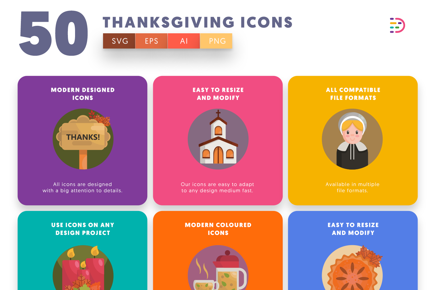 50 Thanksgiving Icons with colored backgrounds