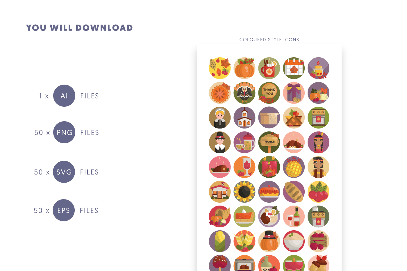 Compatible 50 Thanksgiving Icons pack