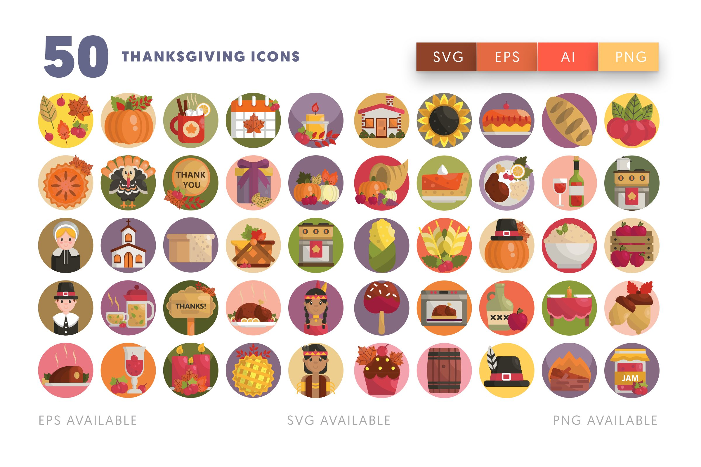 Thanksgiving icons png/svg/eps