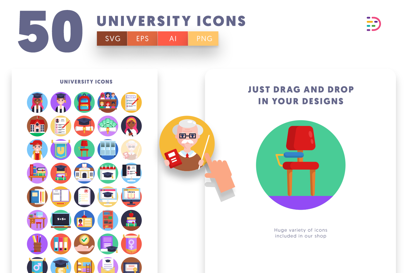 Drag and drop vector 50 University Icons