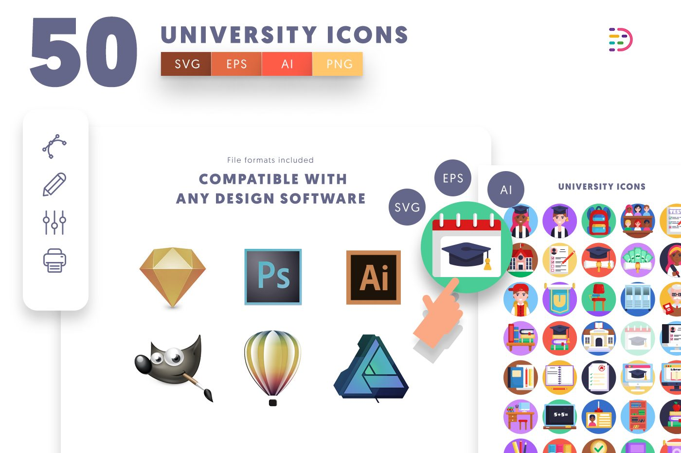 full vector 50 University Icons EPS, SVG, PNG