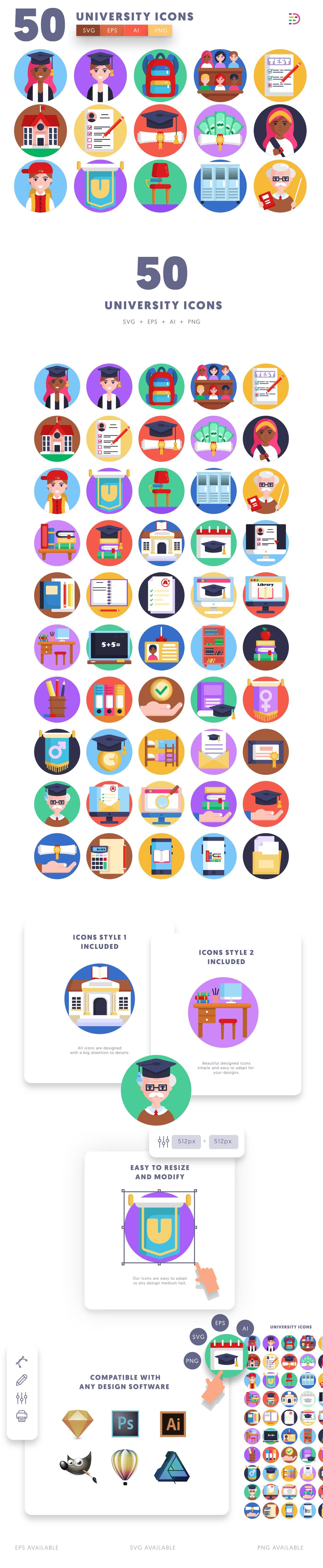 University icons info graphic