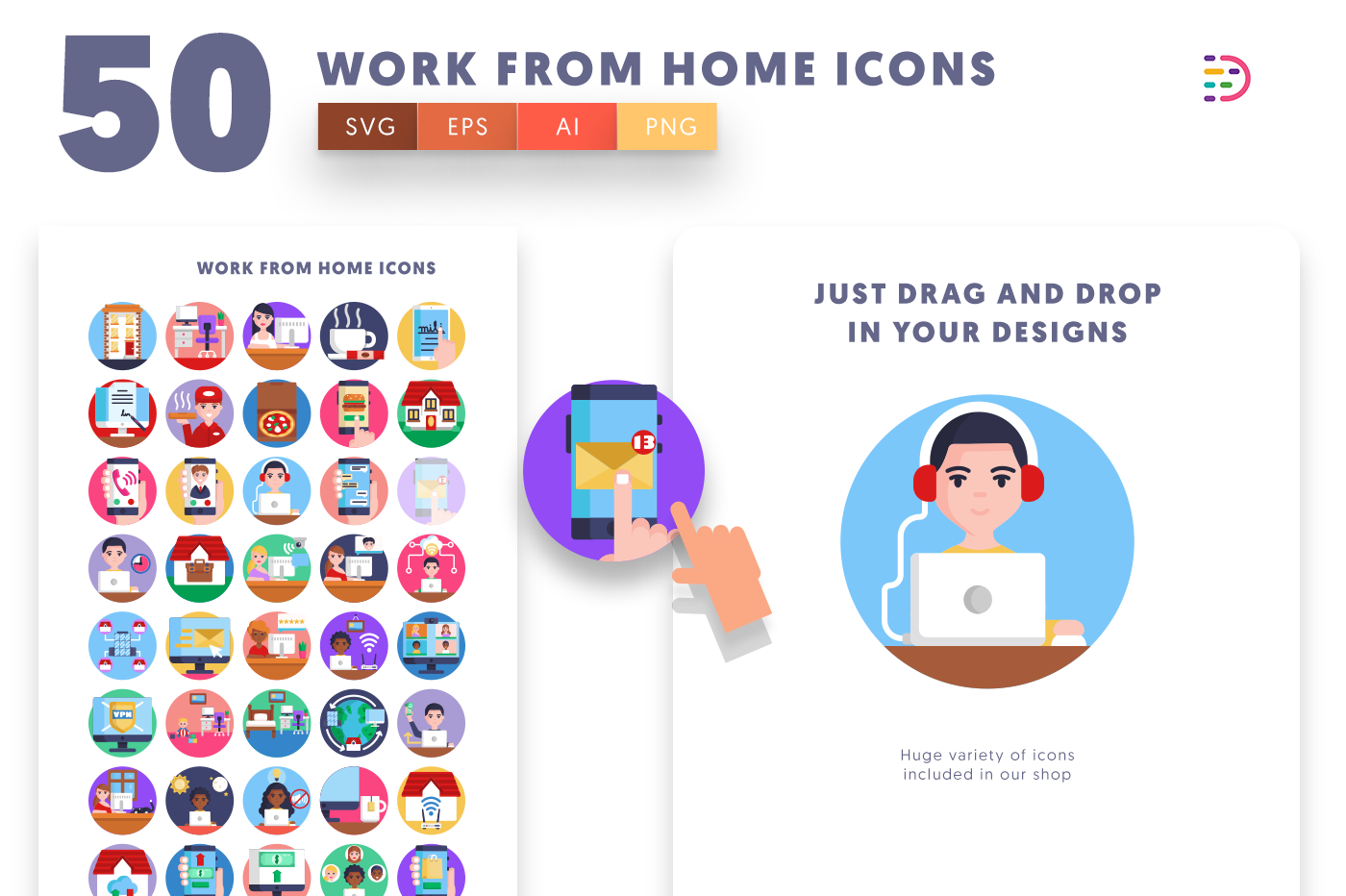 Drag and drop vector 50 Work from Home Icons
