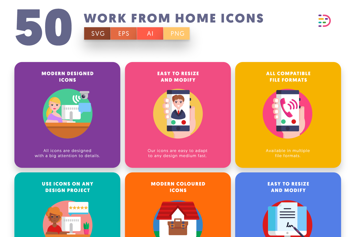 50 Work from Home Icons with colored backgrounds