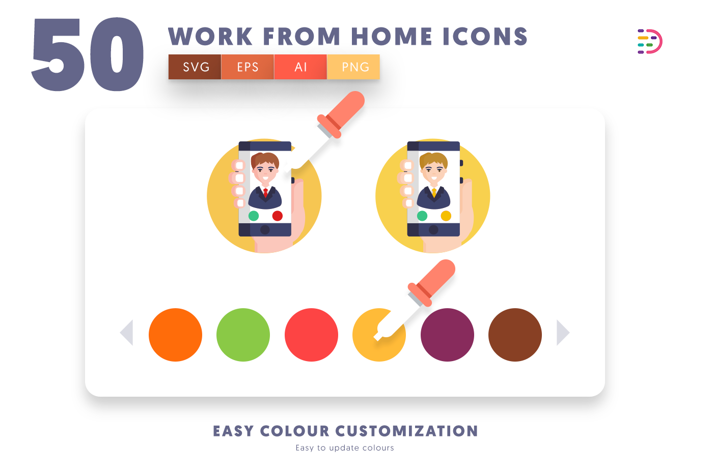 Customizable and vector 50 Work from Home Icons