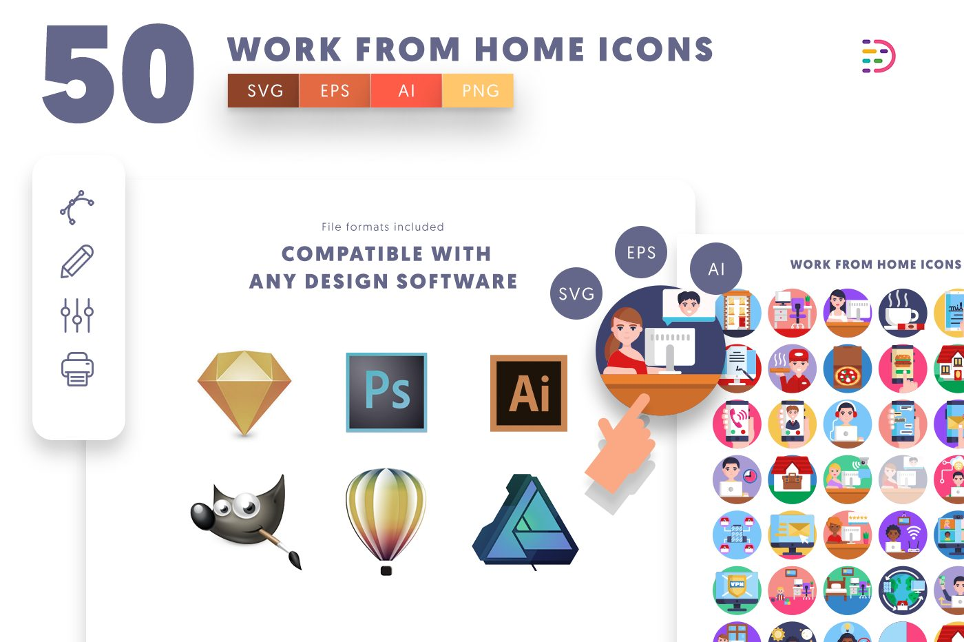full vector 50 Work from Home Icons EPS, SVG, PNG