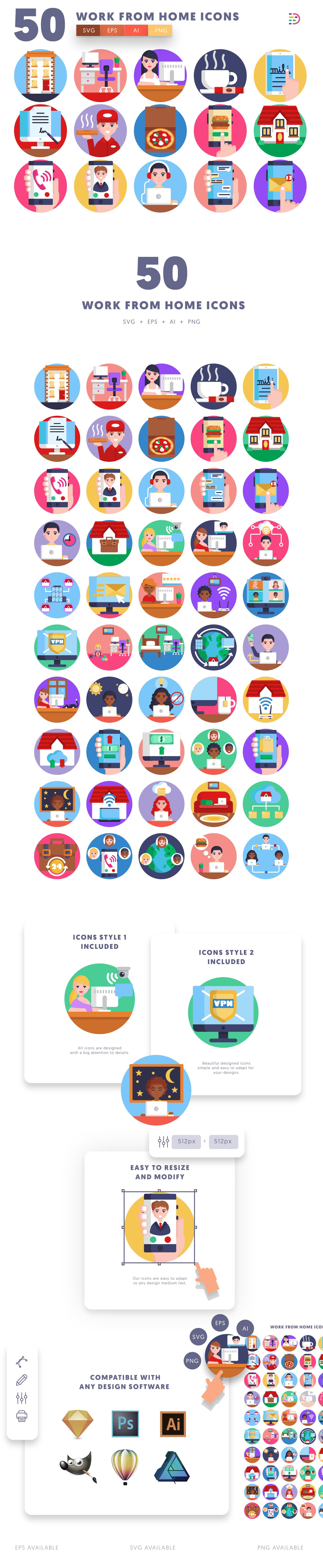 Work from Home icons info graphic