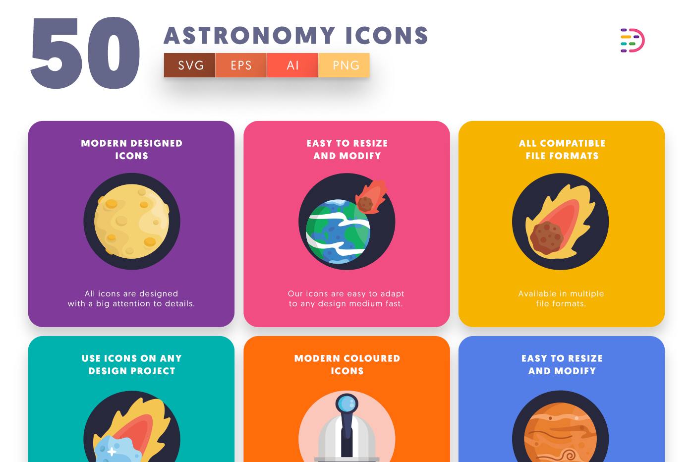 50 Astronomy Icons with colored backgrounds
