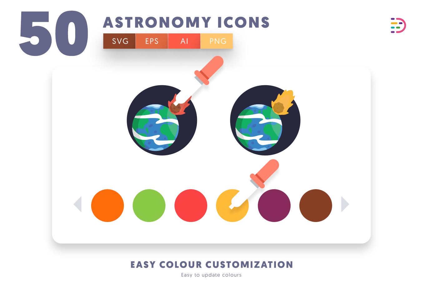Customizable and vector 50 Astronomy Icons
