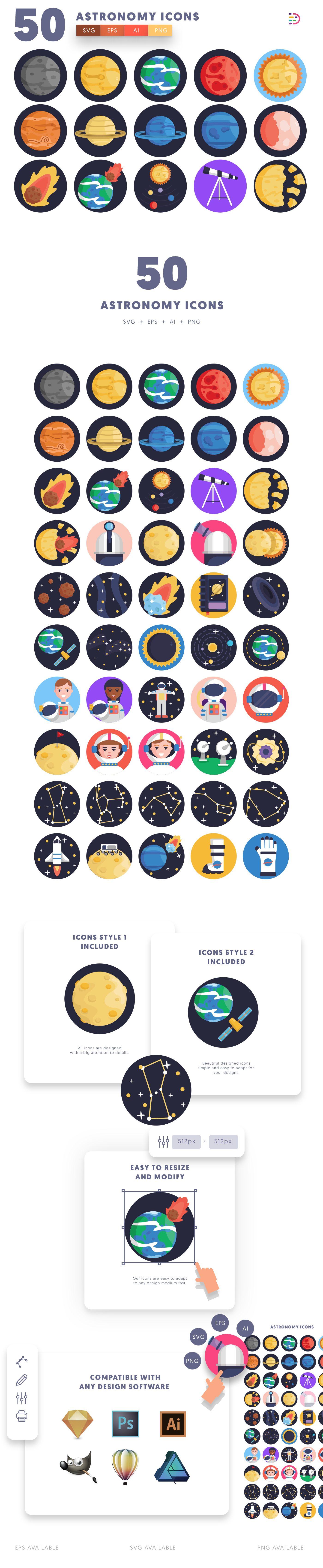 Astronomy icons info graphic