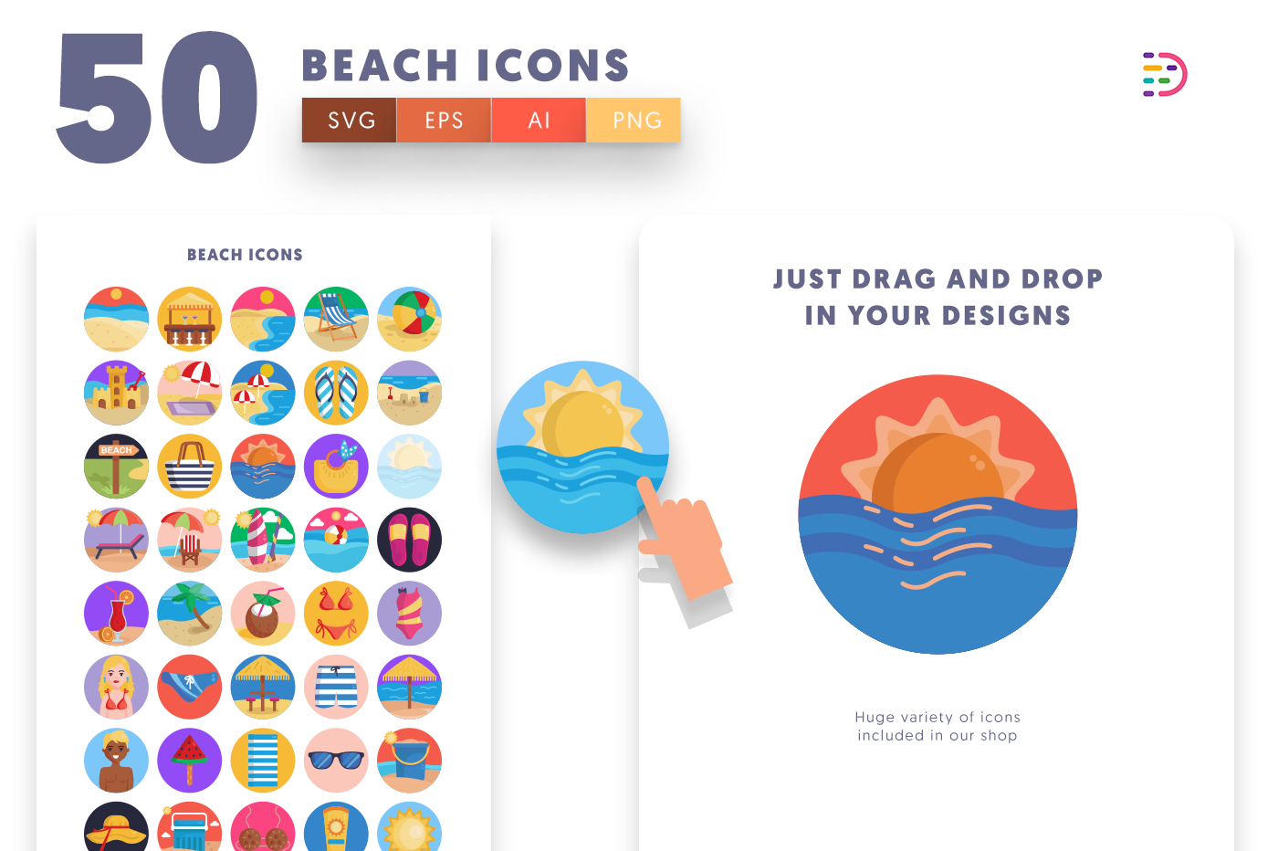 Drag and drop vector 50 Beach Icons