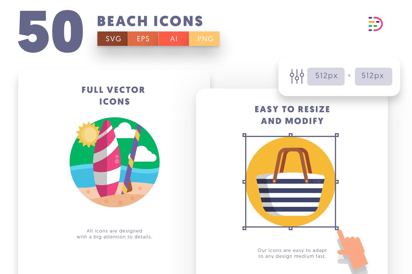 Full vector 50Beach Icons