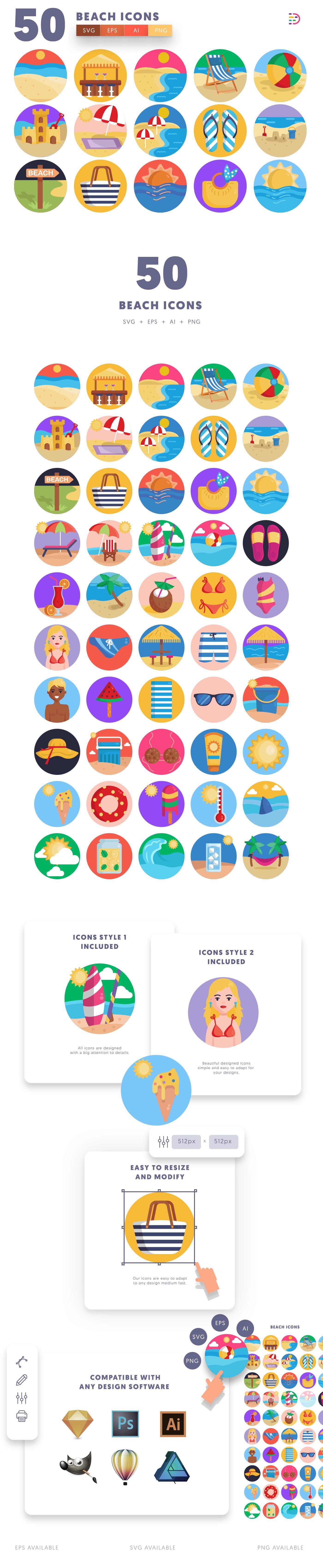 Beach icons info graphic