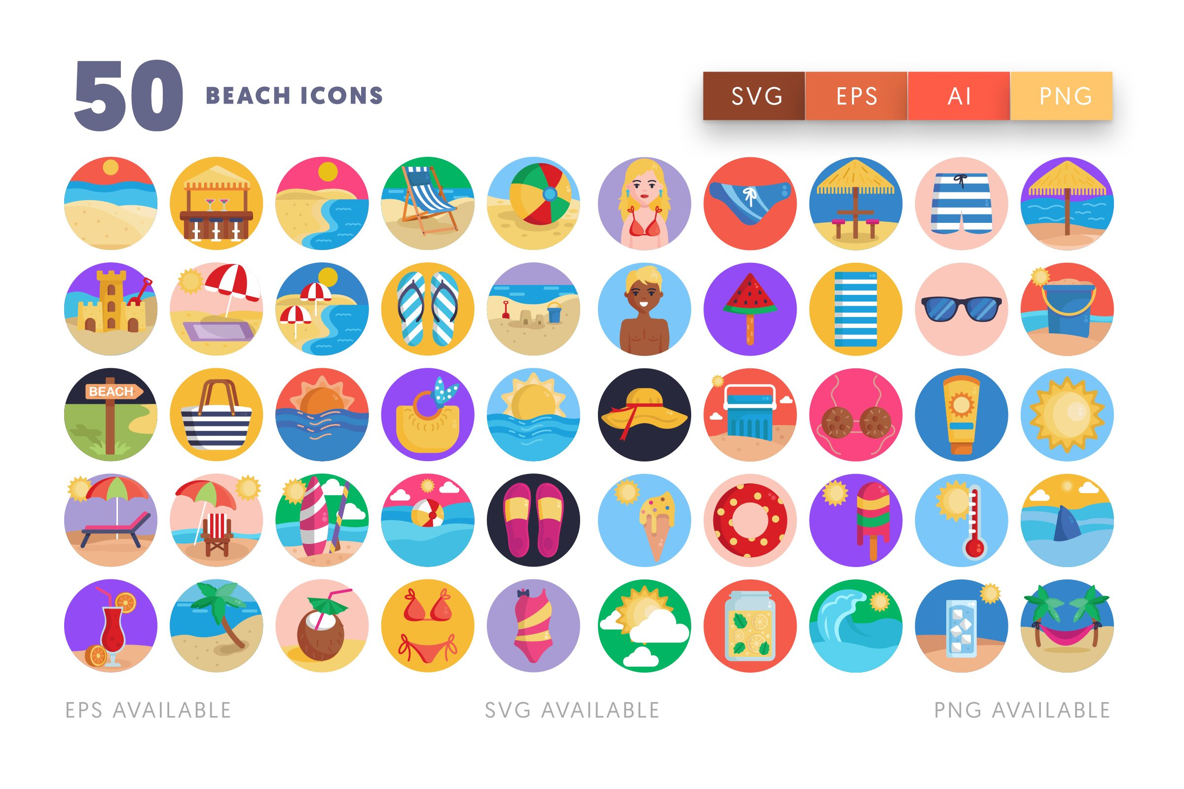 Beach icons png/svg/eps
