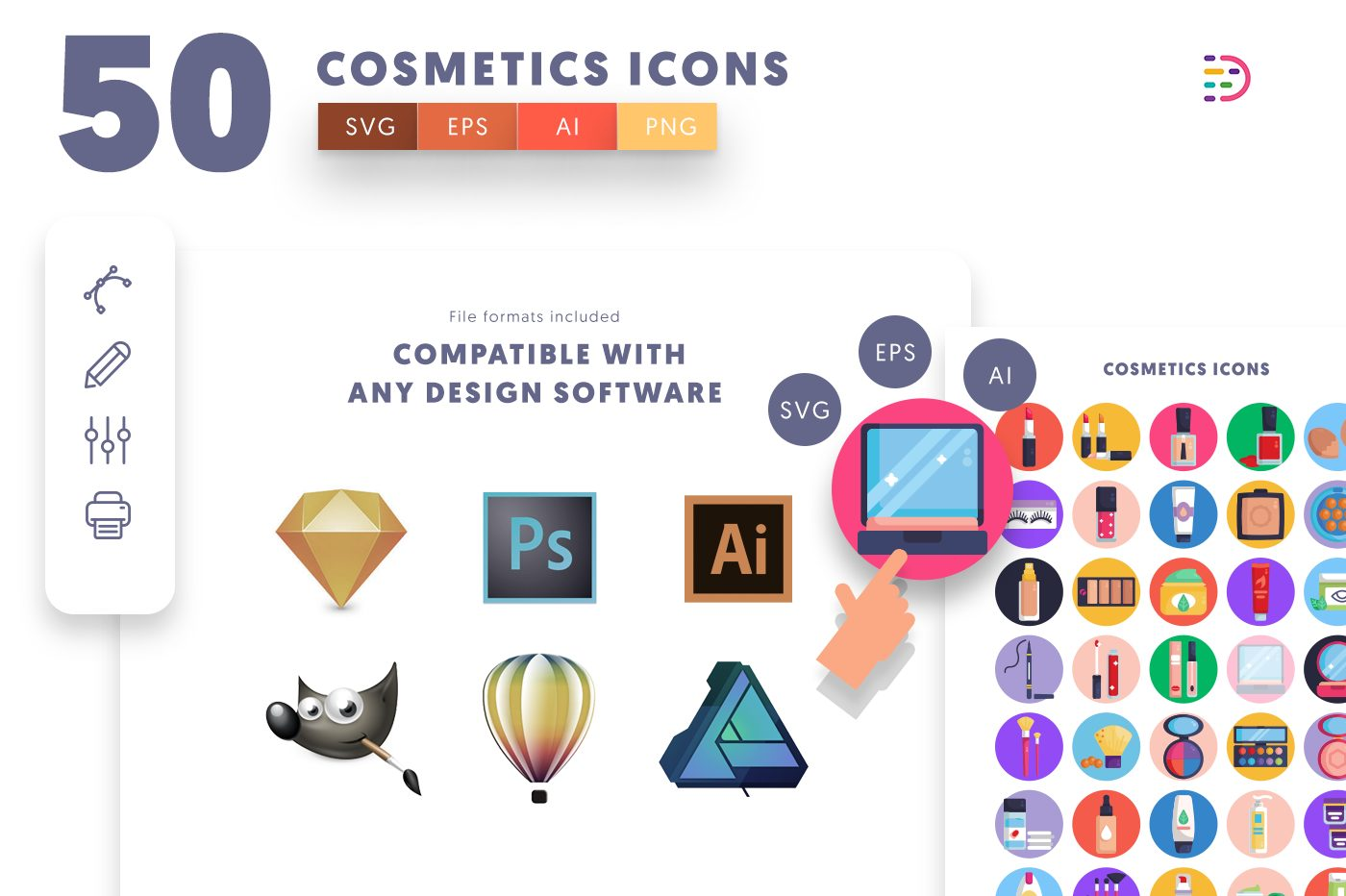 full vector 50 Cosmetics Icons EPS, SVG, PNG