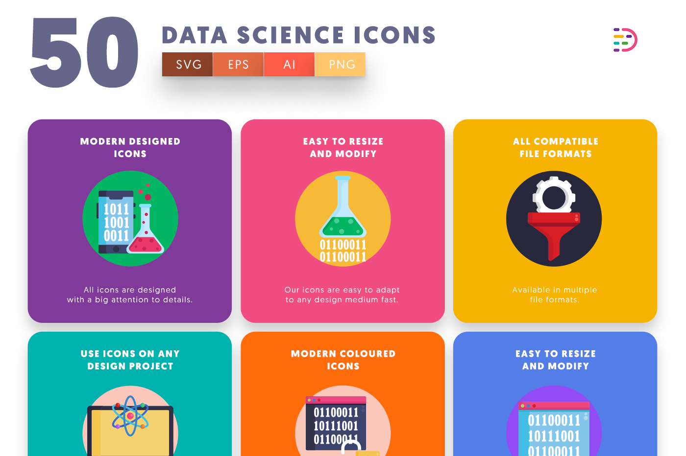 50 Data Science Icons with colored backgrounds