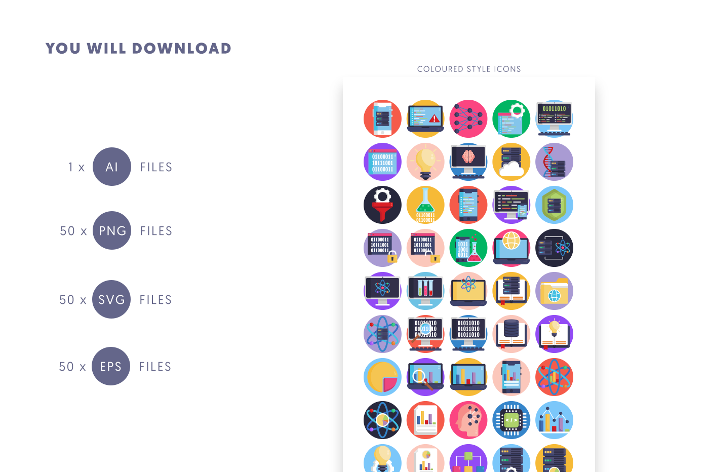 Compatible 50 Data Science Icons pack