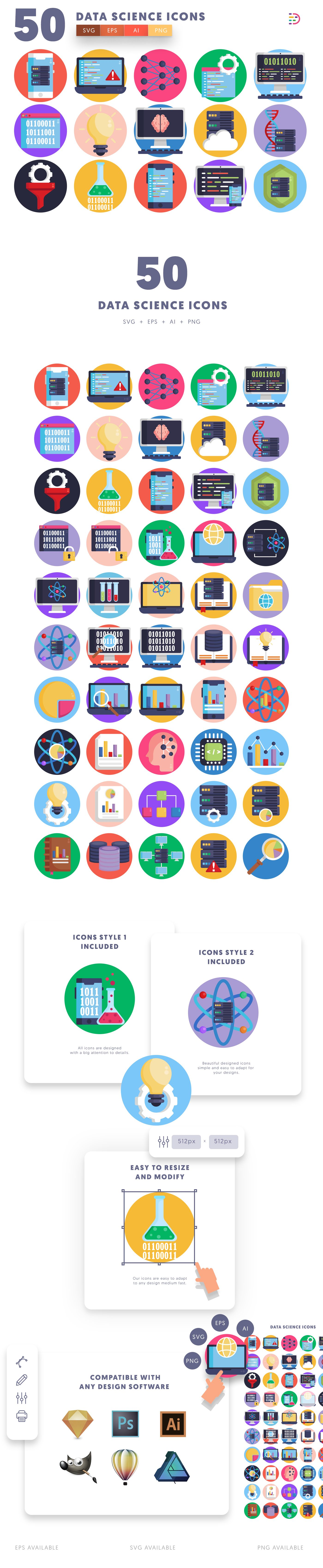 Data Science icons info graphic