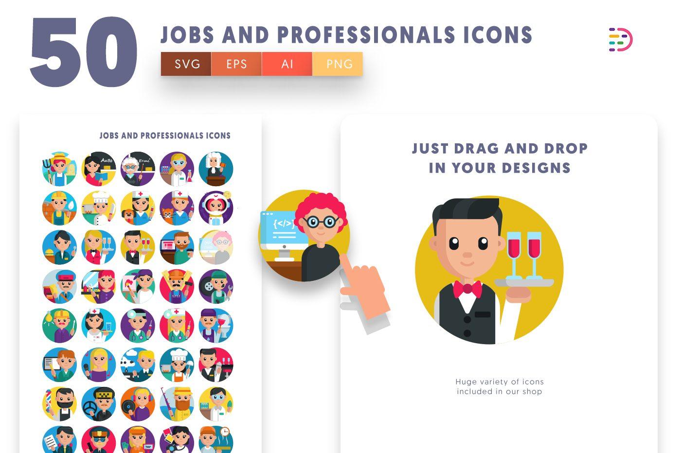 Drag and drop vector 50 Job and Professionals Icons