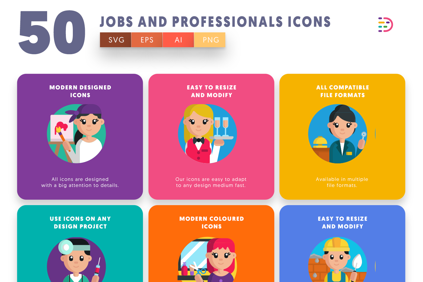 50 Job and Professionals Icons with colored backgrounds