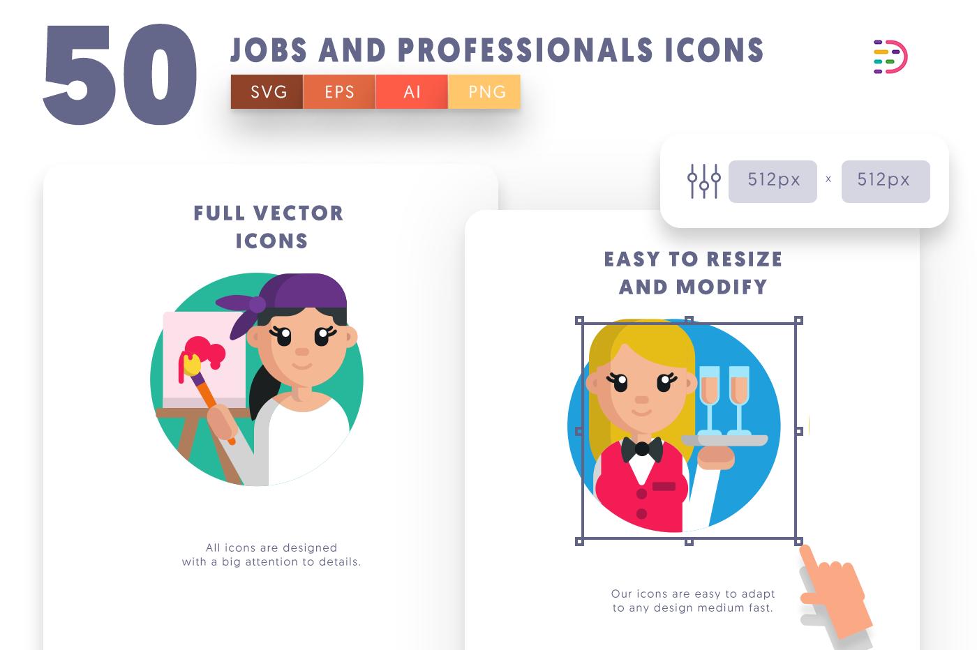 Full vector 50JobandProfessionals Icons