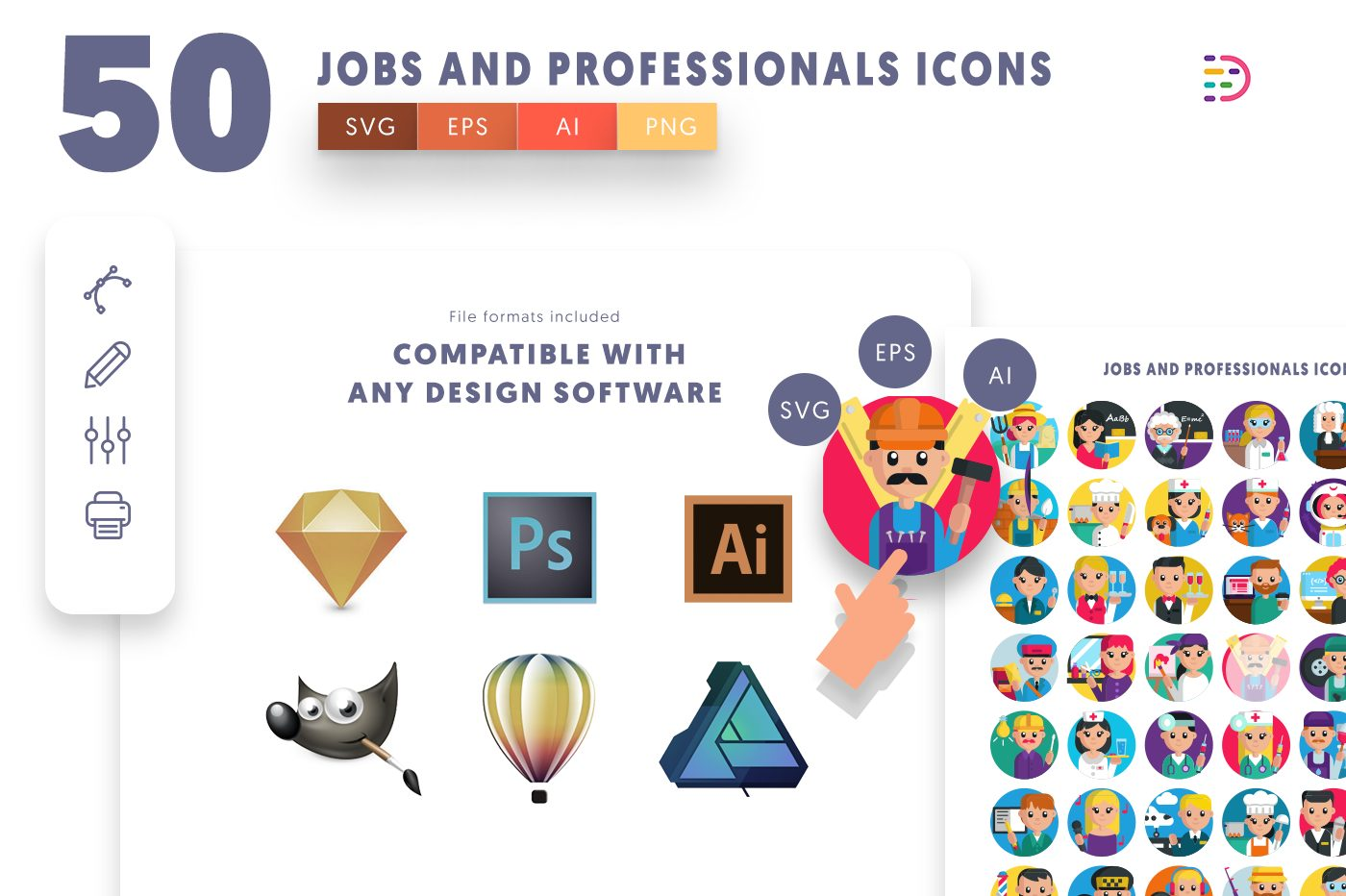 full vector 50 Job and Professionals Icons EPS, SVG, PNG