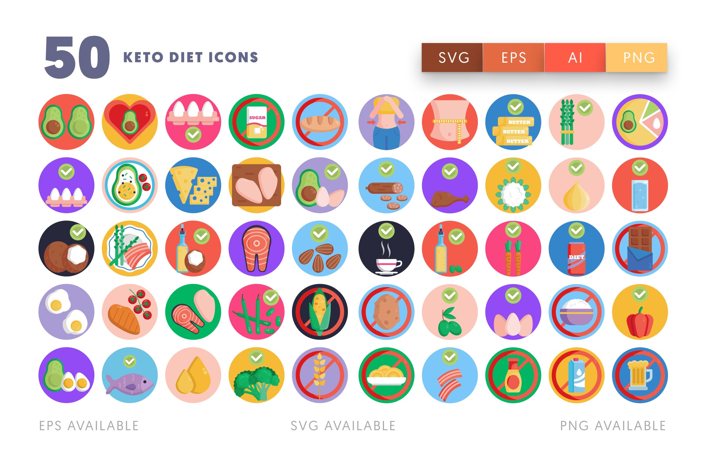 Keto Diet icons png/svg/eps