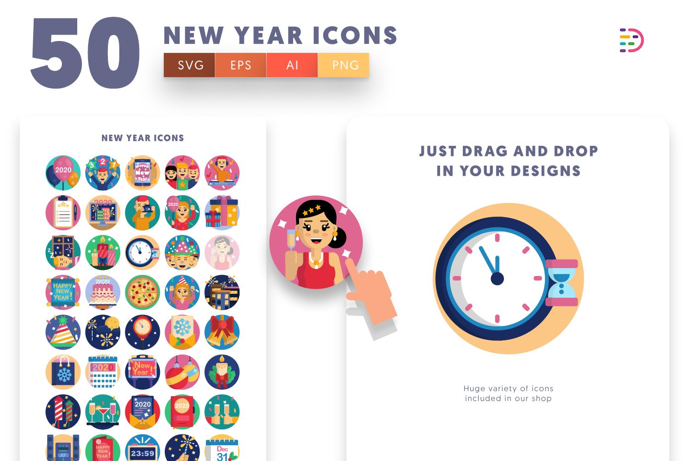 Drag and drop vector 50 New Year Icons