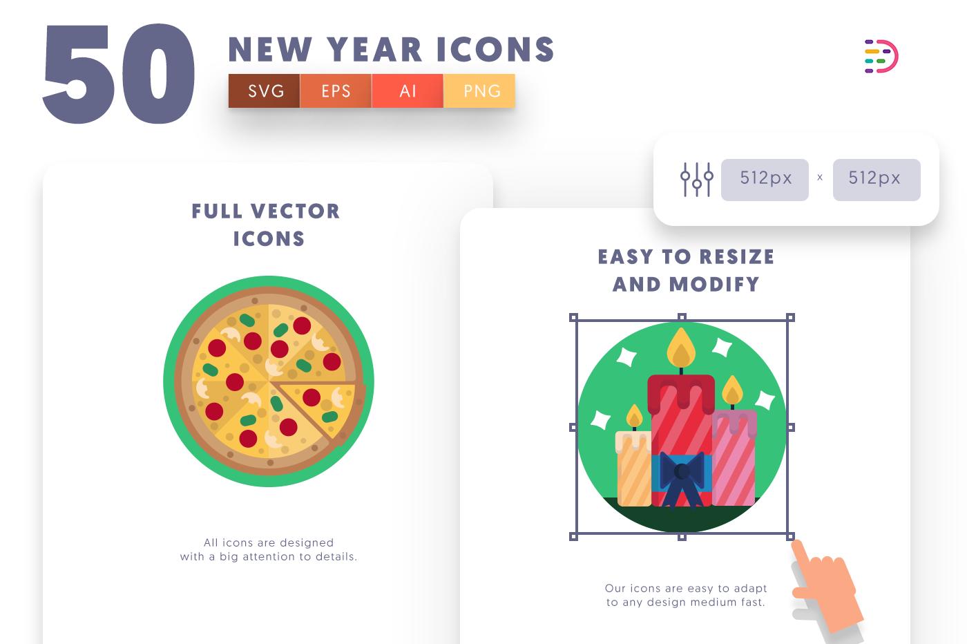 Full vector 50NewYear Icons