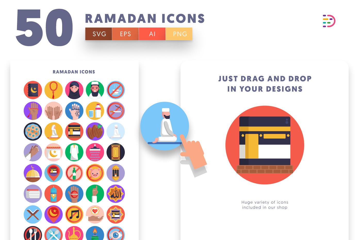 Drag and drop vector 50 Ramadan Icons