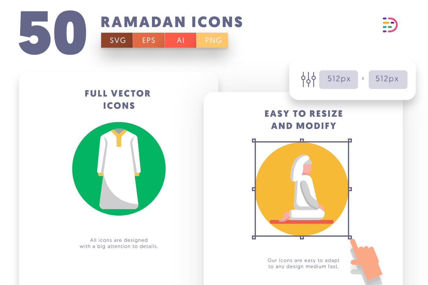 Full vector 50Ramadan Icons