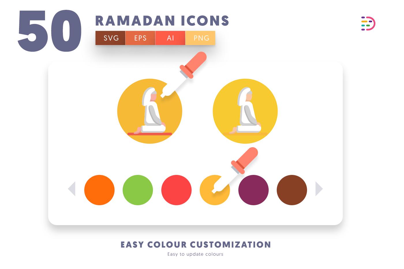 Customizable and vector 50 Ramadan Icons