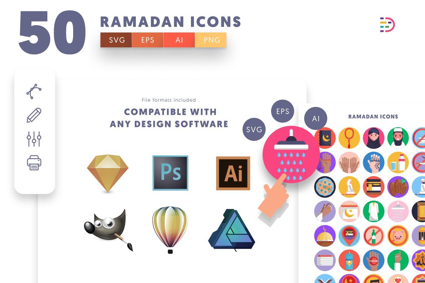 full vector 50 Ramadan Icons EPS, SVG, PNG