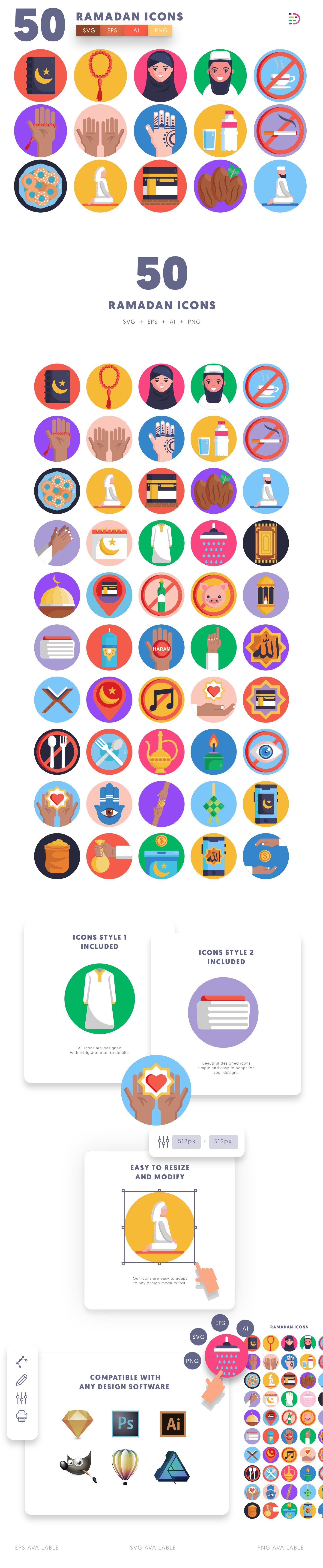 Ramadan icons info graphic